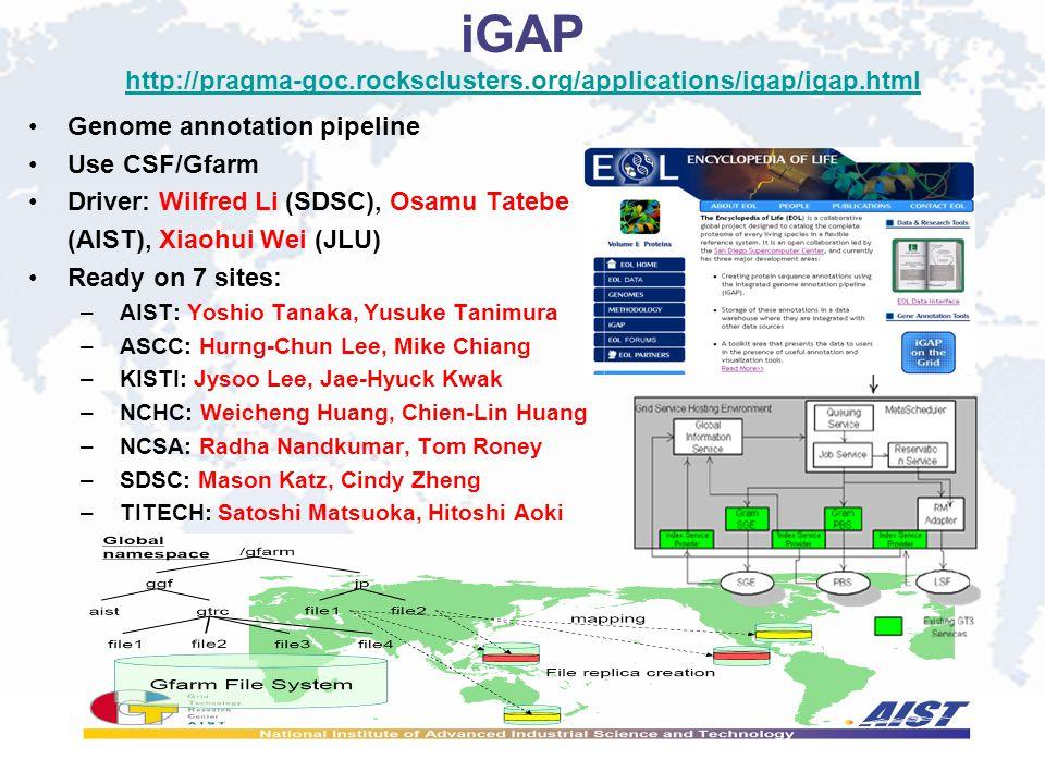 iGAP http://pragma-goc.rocksclusters.org/applications/igap/igap.html http://pragma-goc.rocksclusters.org/applications/igap/igap.html Genome annotation pipeline Use CSF/Gfarm Driver: Wilfred Li (SDSC), Osamu Tatebe (AIST), Xiaohui Wei (JLU) Ready on 7 sites: – AIST: Yoshio Tanaka, Yusuke Tanimura – ASCC: Hurng-Chun Lee, Mike Chiang – KISTI: Jysoo Lee, Jae-Hyuck Kwak – NCHC: Weicheng Huang, Chien-Lin Huang – NCSA: Radha Nandkumar, Tom Roney – SDSC: Mason Katz, Cindy Zheng – TITECH: Satoshi Matsuoka, Hitoshi Aoki
