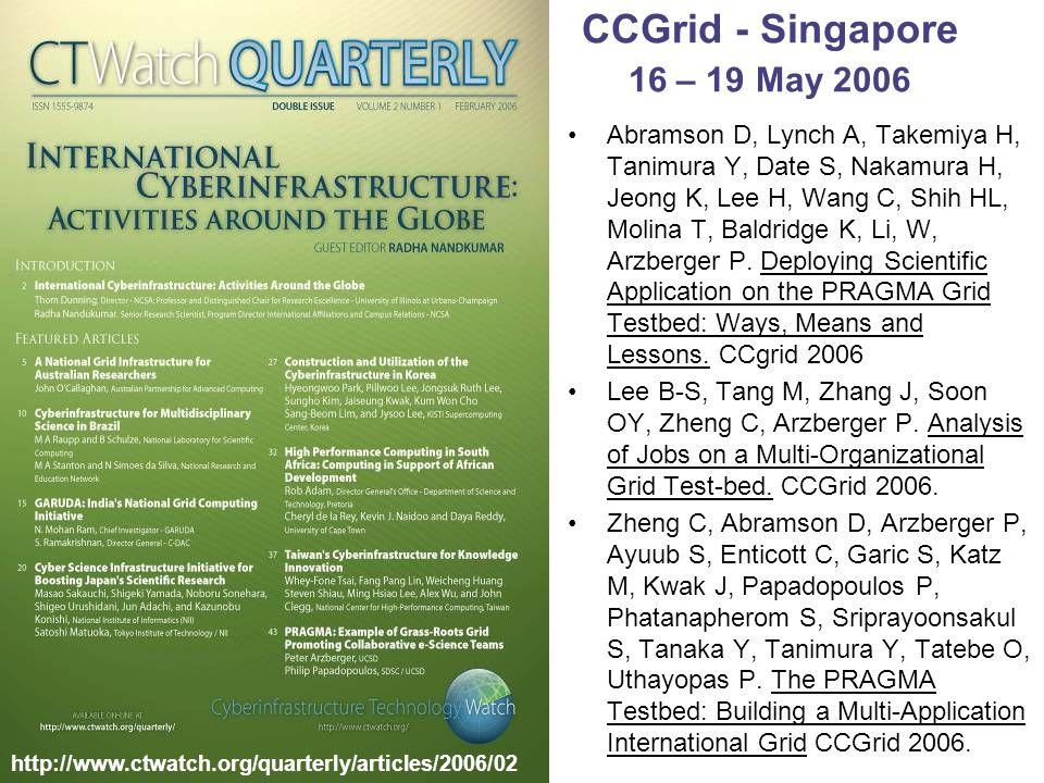 CCGrid - Singapore 16 – 19 May 2006 Abramson D, Lynch A, Takemiya H, Tanimura Y, Date S, Nakamura H, Jeong K, Lee H, Wang C, Shih HL, Molina T, Baldridge K, Li, W, Arzberger P.