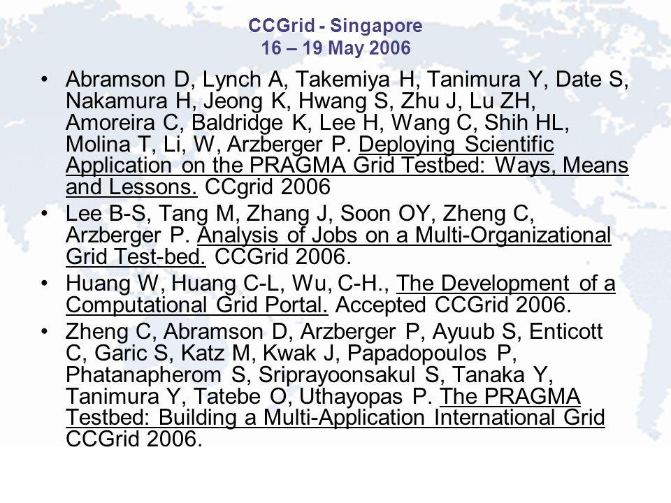 CCGrid - Singapore 16 – 19 May 2006 Abramson D, Lynch A, Takemiya H, Tanimura Y, Date S, Nakamura H, Jeong K, Hwang S, Zhu J, Lu ZH, Amoreira C, Baldridge K, Lee H, Wang C, Shih HL, Molina T, Li, W, Arzberger P.