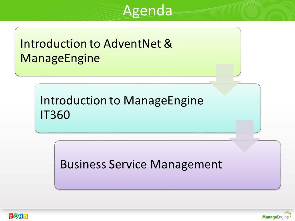 Agenda Introduction to AdventNet & ManageEngine Introduction to ManageEngine IT360 Business Service Management