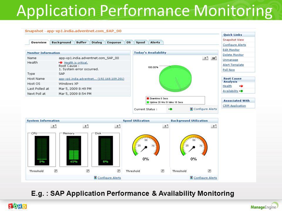 Application Performance Monitoring E.g. : SAP Application Performance & Availability Monitoring