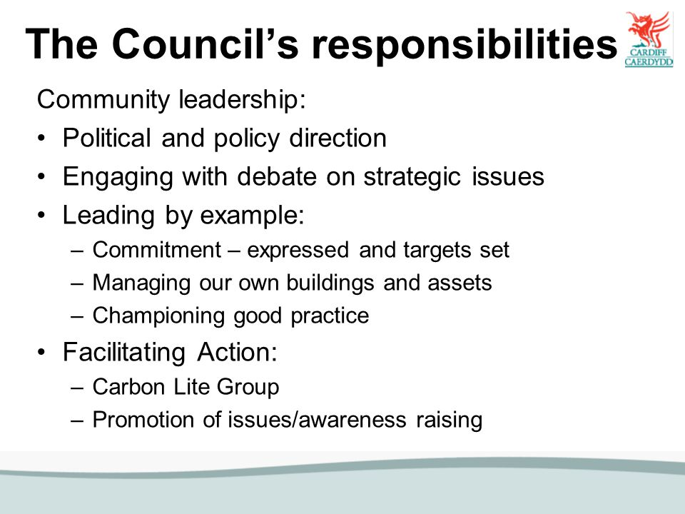 The Council's responsibilities Community leadership: Political and policy direction Engaging with debate on strategic issues Leading by example: –Comm