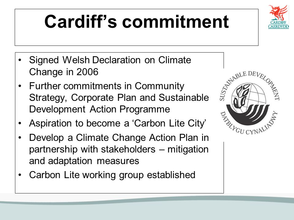 Carbon Lite Working Group Internal and external members Established to progress climate change action across the city Reports back to Community Strategy Vision Forum and Panel of senior members/officers Initial branding for Carbon Lite Cardiff, fits in with WAG campaign Internal awareness raising campaign started