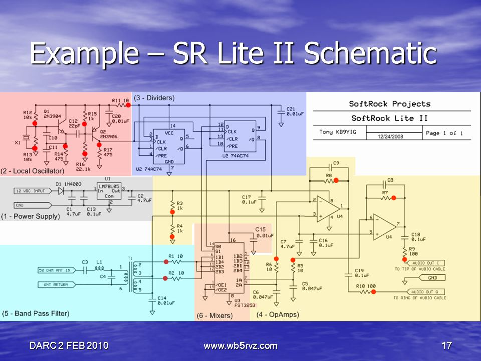 DARC 2 FEB 2010www.wb5rvz.com17 Example – SR Lite II Schematic