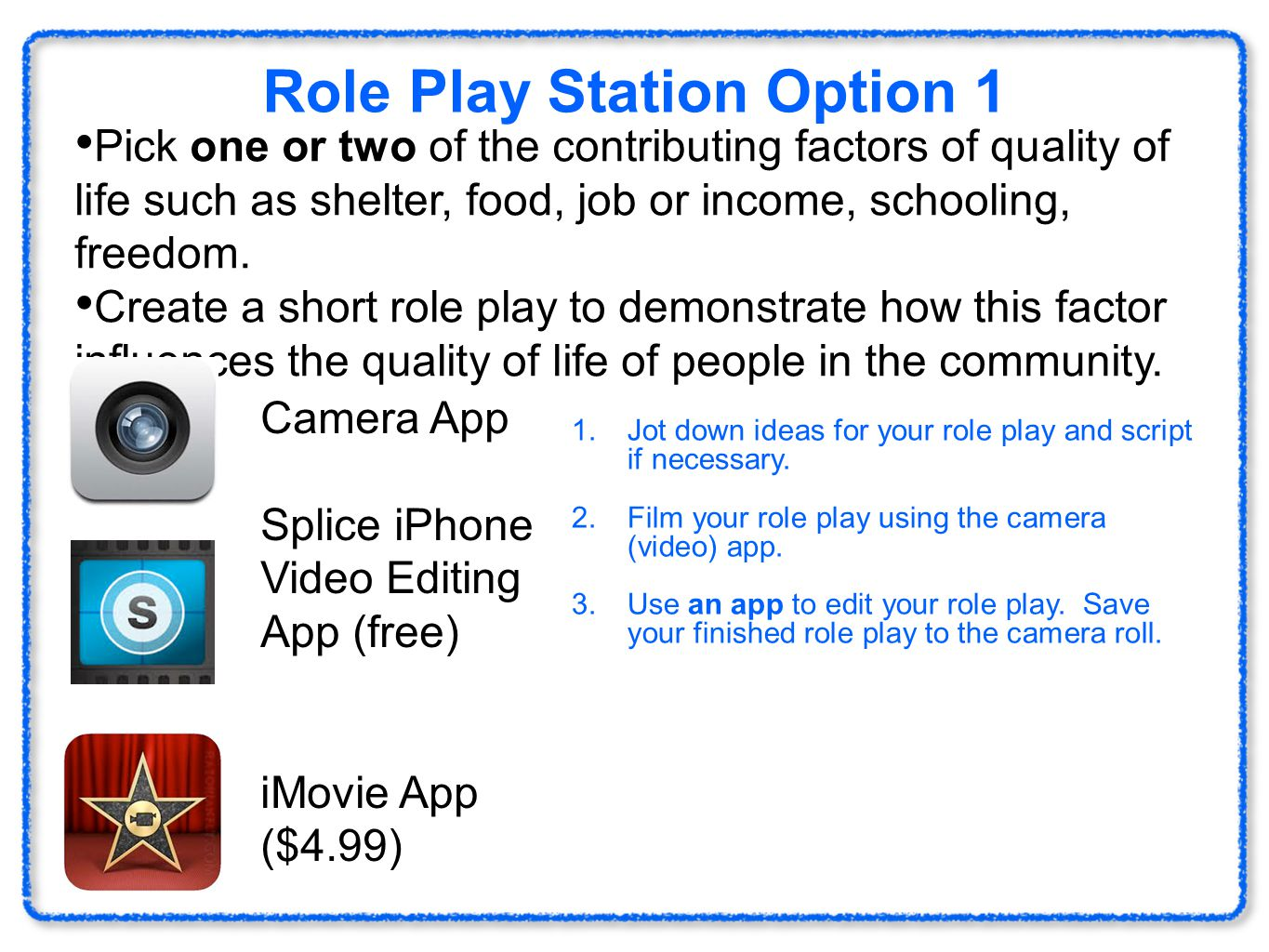 Role Play Station Option 1 Pick one or two of the contributing factors of quality of life such as shelter, food, job or income, schooling, freedom. Cr