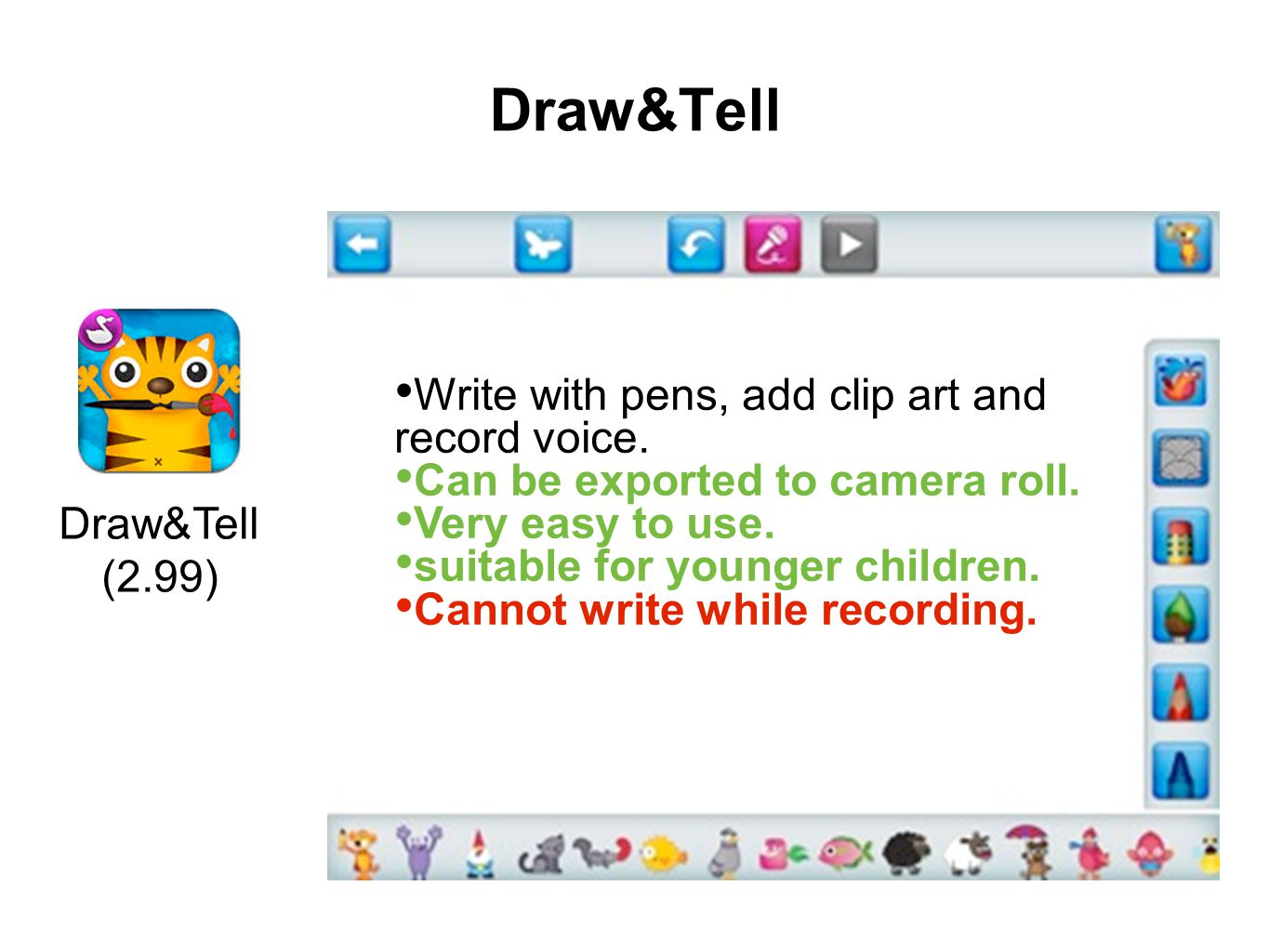 Draw&Tell (2.99) Write with pens, add clip art and record voice. Can be exported to camera roll. Very easy to use. suitable for younger children. Cann