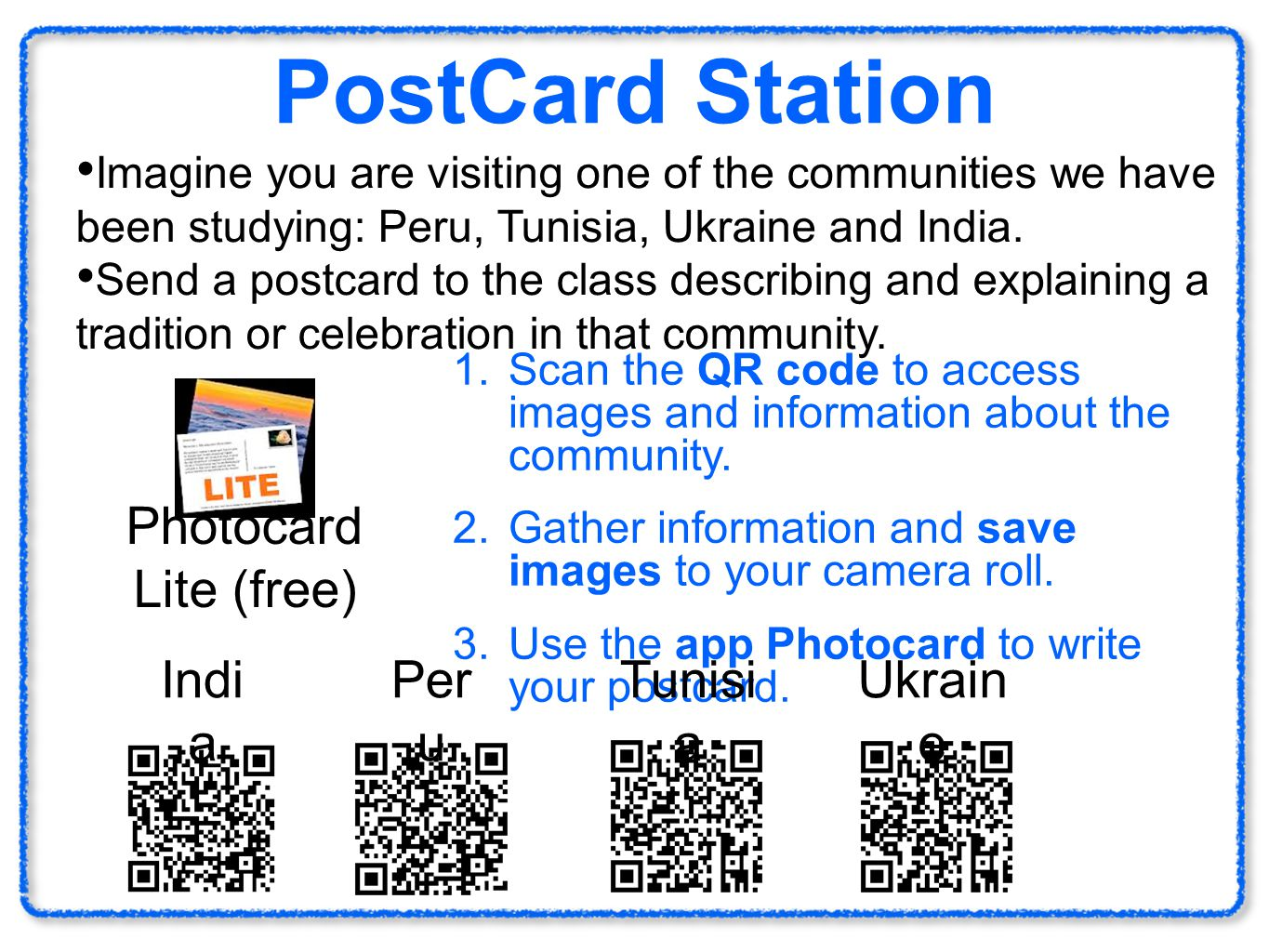 PostCard Station Imagine you are visiting one of the communities we have been studying: Peru, Tunisia, Ukraine and India. Send a postcard to the class