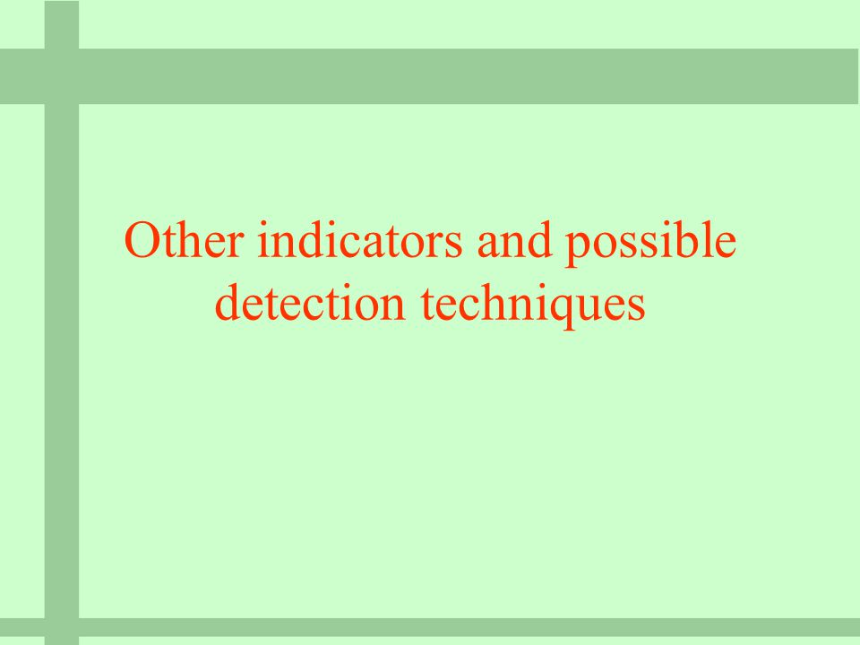 Other indicators and possible detection techniques