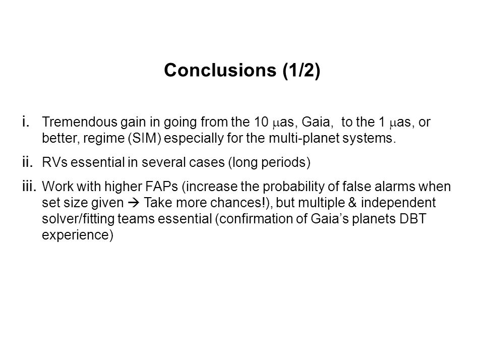 Conclusions (1/2) i.