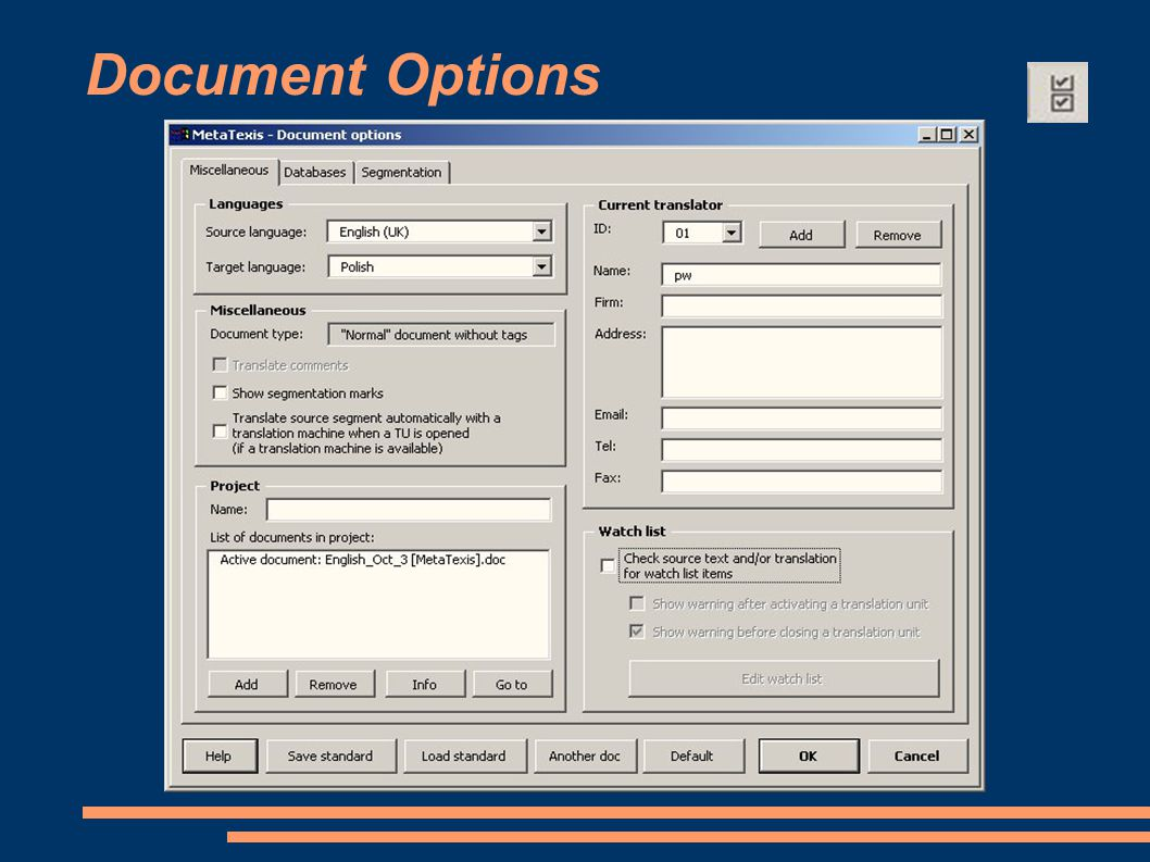 Document Options