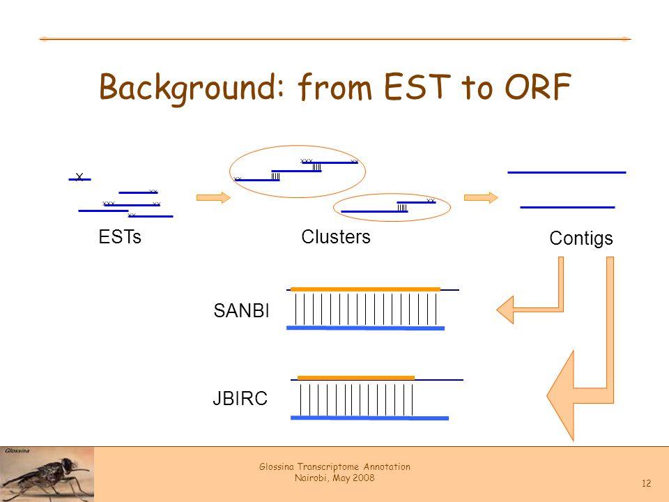 Glossina Transcriptome Annotation Nairobi, May 2008 12 Background: from EST to ORF X XX XXX XX ESTs XX XXX XX Clusters Contigs SANBI JBIRC