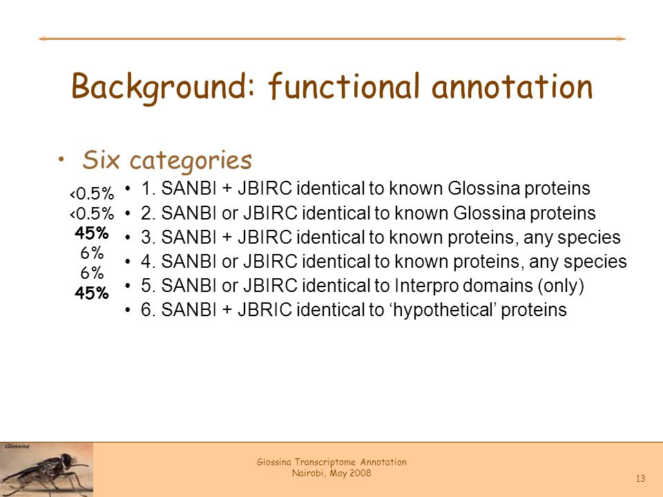 Glossina Transcriptome Annotation Nairobi, May 2008 13 Background: functional annotation Six categories 1. SANBI + JBIRC identical to known Glossina p