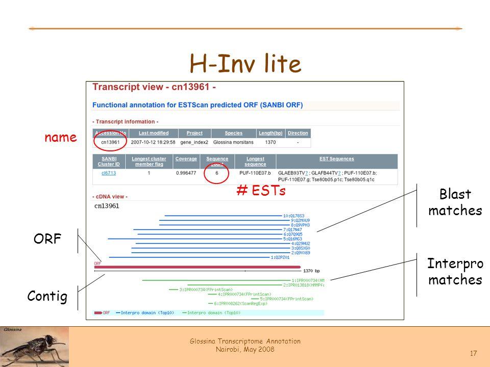 Glossina Transcriptome Annotation Nairobi, May 2008 17 H-Inv lite Contig ORF Blast matches Interpro matches name # ESTs