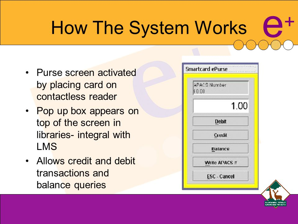 e+e+ How The System Works Purse screen activated by placing card on contactless reader Pop up box appears on top of the screen in libraries- integral with LMS Allows credit and debit transactions and balance queries