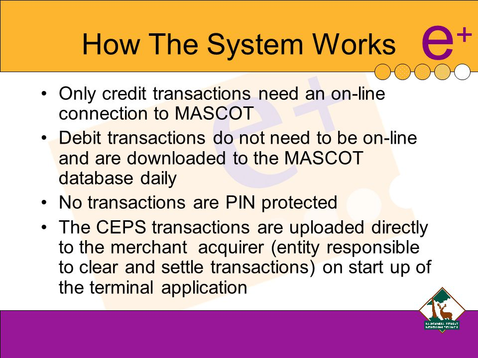 e+e+ How The System Works Only credit transactions need an on-line connection to MASCOT Debit transactions do not need to be on-line and are downloaded to the MASCOT database daily No transactions are PIN protected The CEPS transactions are uploaded directly to the merchant acquirer (entity responsible to clear and settle transactions) on start up of the terminal application