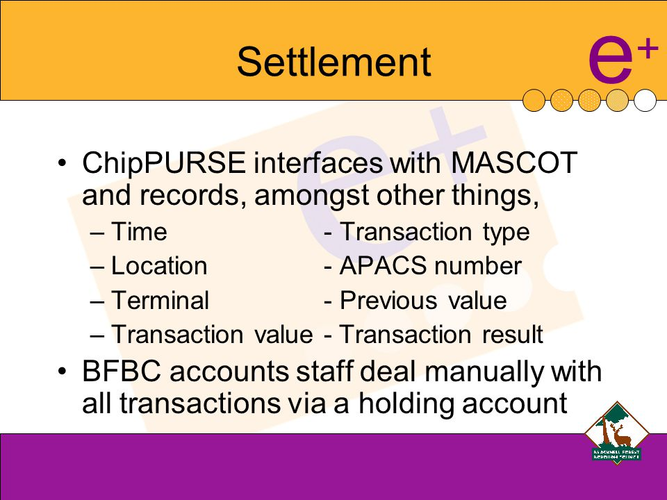 e+e+ Settlement ChipPURSE interfaces with MASCOT and records, amongst other things, –Time- Transaction type –Location- APACS number –Terminal- Previous value –Transaction value - Transaction result BFBC accounts staff deal manually with all transactions via a holding account