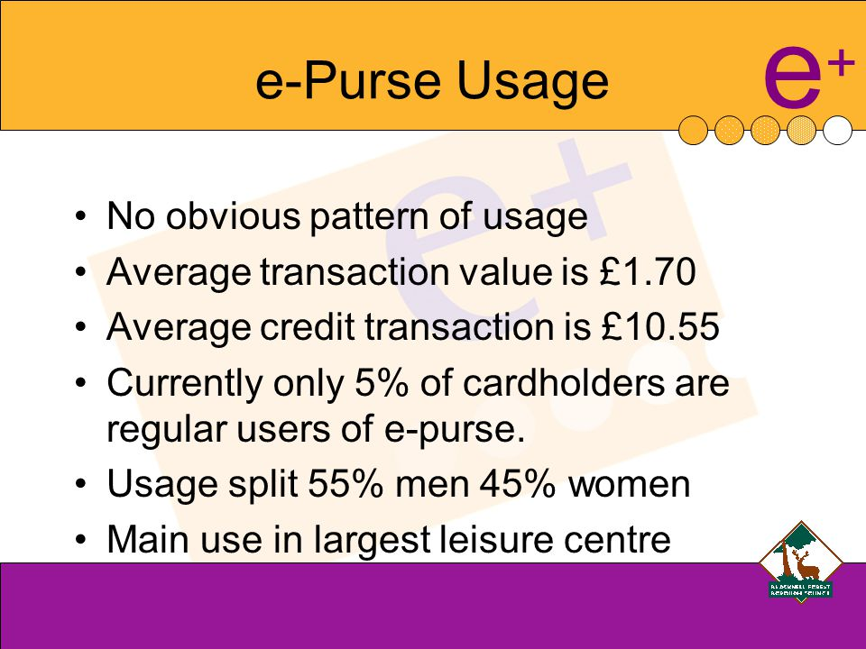 e+e+ e-Purse Usage No obvious pattern of usage Average transaction value is £1.70 Average credit transaction is £10.55 Currently only 5% of cardholders are regular users of e-purse.