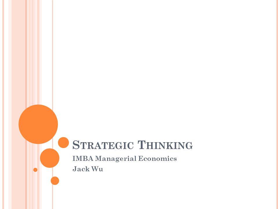 S TRATEGIC T HINKING IMBA Managerial Economics Jack Wu