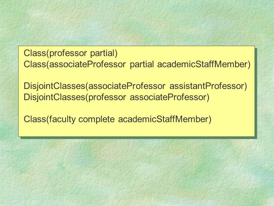 Class(professor partial) Class(associateProfessor partial academicStaffMember) DisjointClasses(associateProfessor assistantProfessor) DisjointClasses(professor associateProfessor) Class(faculty complete academicStaffMember) Class(professor partial) Class(associateProfessor partial academicStaffMember) DisjointClasses(associateProfessor assistantProfessor) DisjointClasses(professor associateProfessor) Class(faculty complete academicStaffMember)