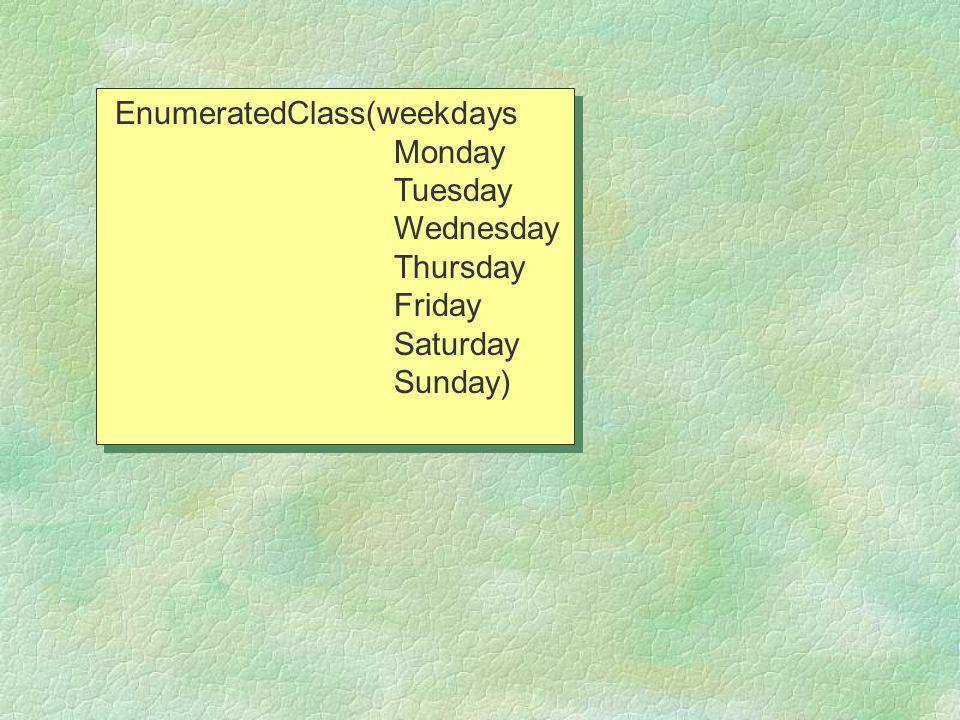EnumeratedClass(weekdays Monday Tuesday Wednesday Thursday Friday Saturday Sunday) EnumeratedClass(weekdays Monday Tuesday Wednesday Thursday Friday Saturday Sunday)