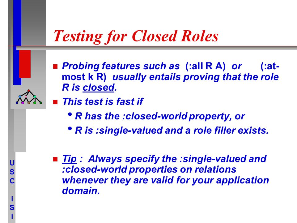 USCISIUSCISI Testing for Closed Roles Probing features such as (:all R A) or (:at- most k R) usually entails proving that the role R is closed. This t