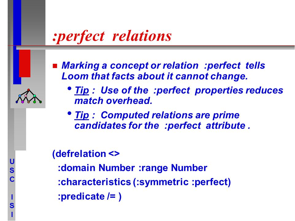 USCISIUSCISI :perfect relations Marking a concept or relation :perfect tells Loom that facts about it cannot change. Tip : Use of the :perfect propert