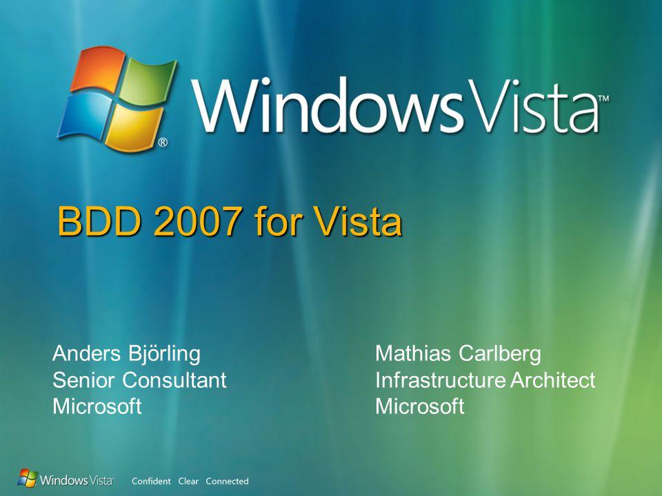 BDD 2007 for Vista Anders Björling Senior Consultant Microsoft Mathias Carlberg Infrastructure Architect Microsoft