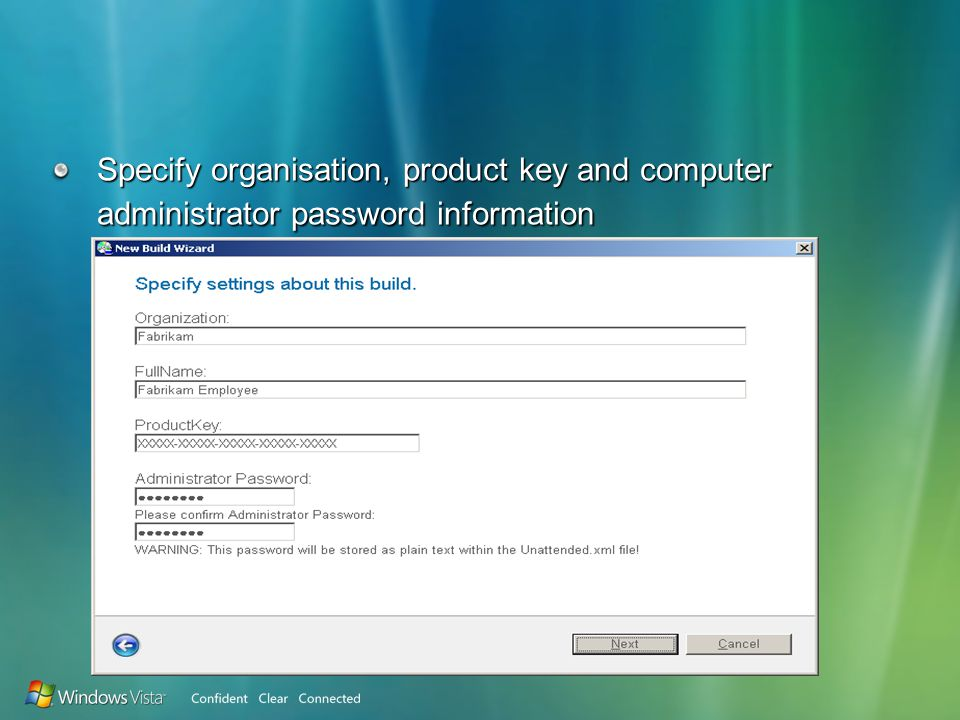 Specify organisation, product key and computer administrator password information