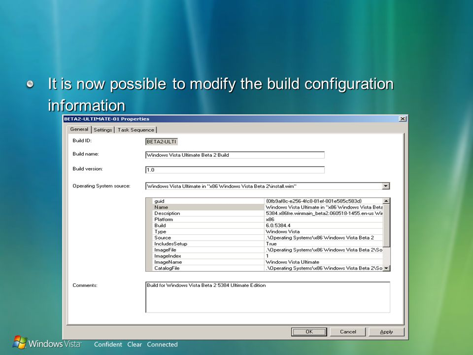 It is now possible to modify the build configuration information