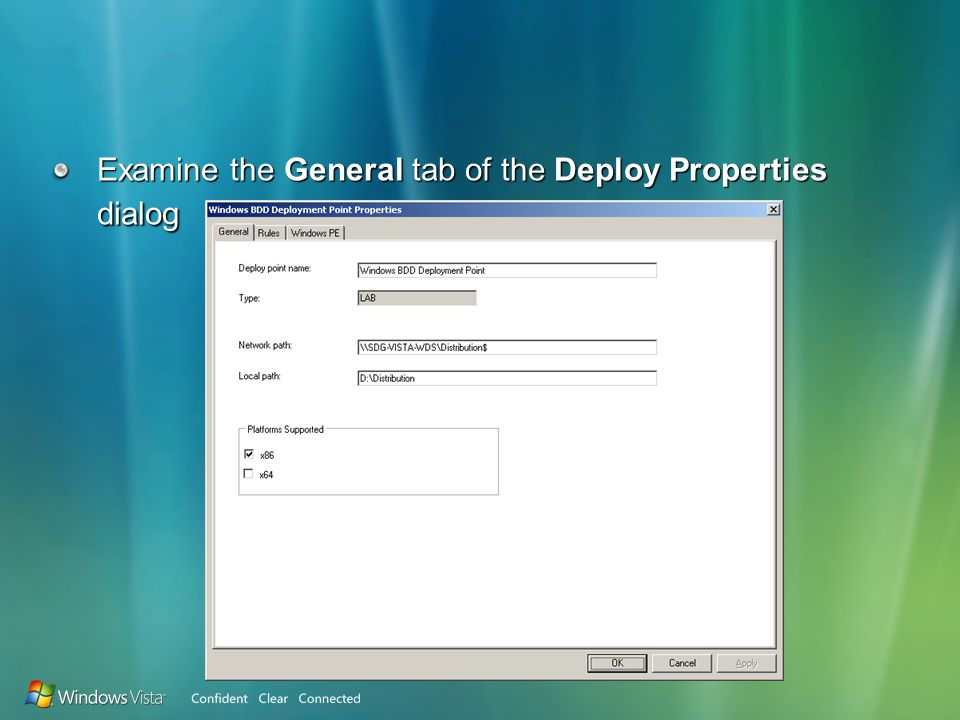 Examine the General tab of the Deploy Properties dialog