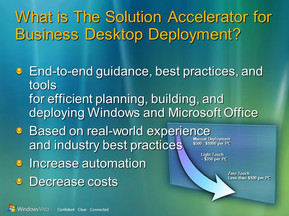 Manual Deployment $500 - $1000 per PC Light Touch ~ $350 per PC Zero Touch Less than $100 per PC What is The Solution Accelerator for Business Desktop Deployment.