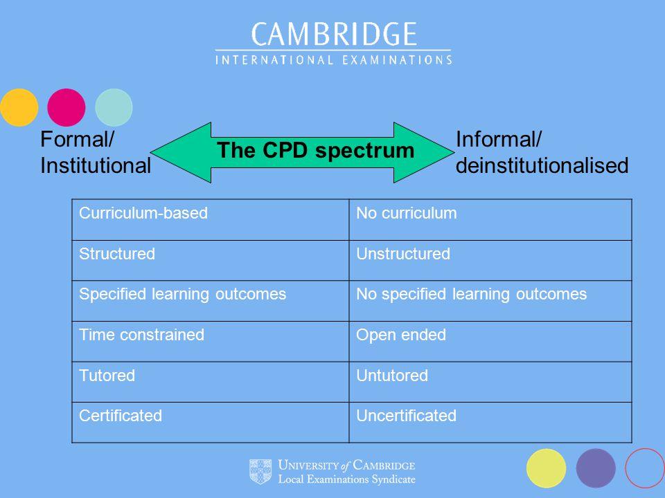 Formal/ Institutional Informal/ deinstitutionalised The CPD spectrum Curriculum-basedNo curriculum StructuredUnstructured Specified learning outcomesNo specified learning outcomes Time constrainedOpen ended TutoredUntutored CertificatedUncertificated