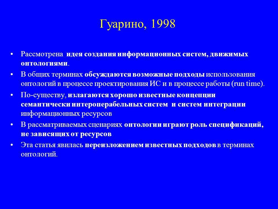 Гуарино, 1998 Рассмотрена идея создания информационных систем, движимых онтологиями.
