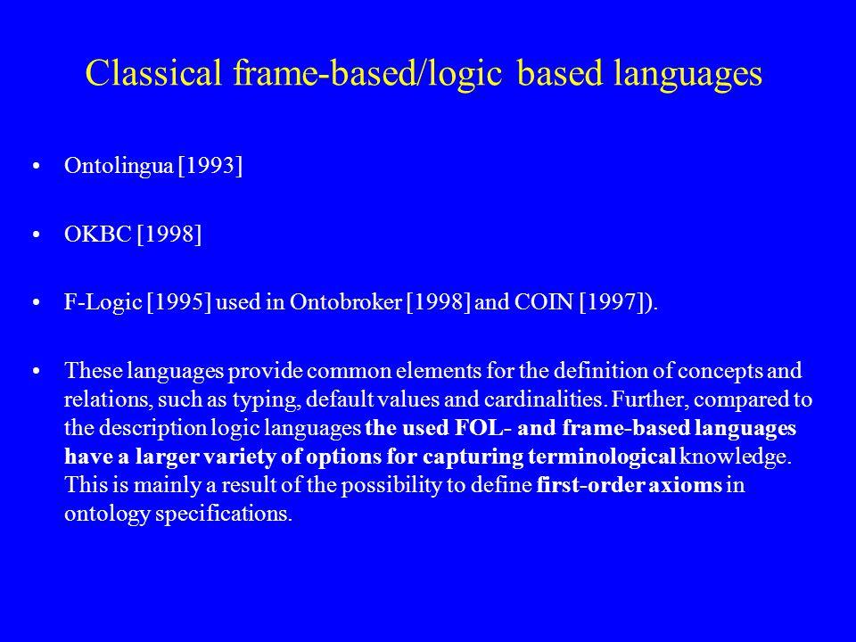 Classical frame-based/logic based languages Ontolingua [1993] OKBC [1998] F-Logic [1995] used in Ontobroker [1998] and COIN [1997]).
