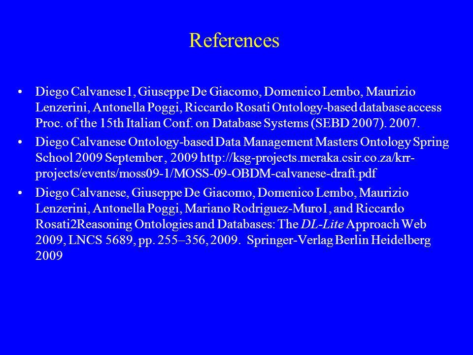 References Diego Calvanese1, Giuseppe De Giacomo, Domenico Lembo, Maurizio Lenzerini, Antonella Poggi, Riccardo Rosati Ontology-based database access Proc.