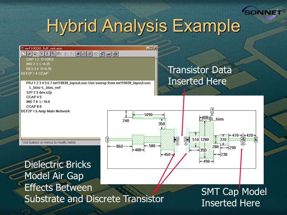 Hybrid Analysis Example Transistor Data Inserted Here SMT Cap Model Inserted Here Dielectric Bricks Model Air Gap Effects Between Substrate and Discre