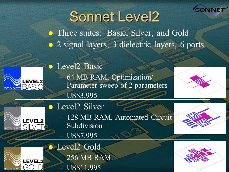 Sonnet Level2 l Three suites: Basic, Silver, and Gold l 2 signal layers, 3 dielectric layers, 6 ports l Level2 Basic –64 MB RAM, Optimization/ Paramet