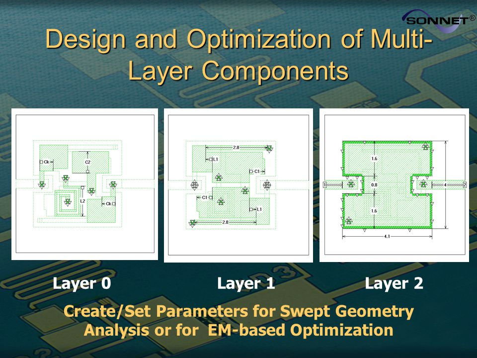 Design and Optimization of Multi- Layer Components Layer 0Layer 1Layer 2 Create/Set Parameters for Swept Geometry Analysis or for EM-based Optimizatio