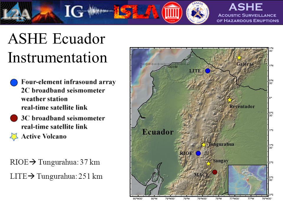 ASHE Ecuador Instrumentation RIOE LITE MACE Sangay Tungurahua Reventador Galeras Ecuador RIOE  Tungurahua: 37 km LITE  Tungurahua: 251 km