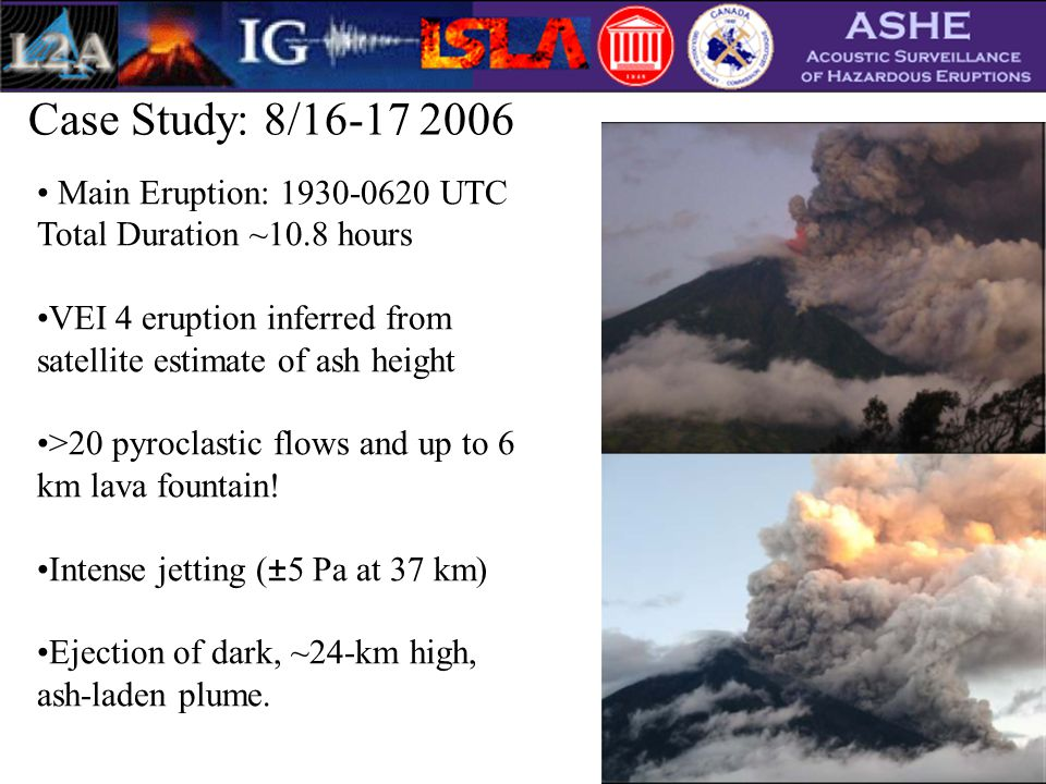 Case Study: 8/16-17 2006 Main Eruption: 1930-0620 UTC Total Duration ~10.8 hours VEI 4 eruption inferred from satellite estimate of ash height >20 pyroclastic flows and up to 6 km lava fountain.