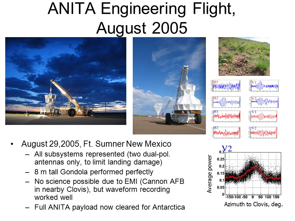 ANITA Engineering Flight, August 2005 August 29,2005, Ft. Sumner New Mexico –All subsystems represented (two dual-pol. antennas only, to limit landing
