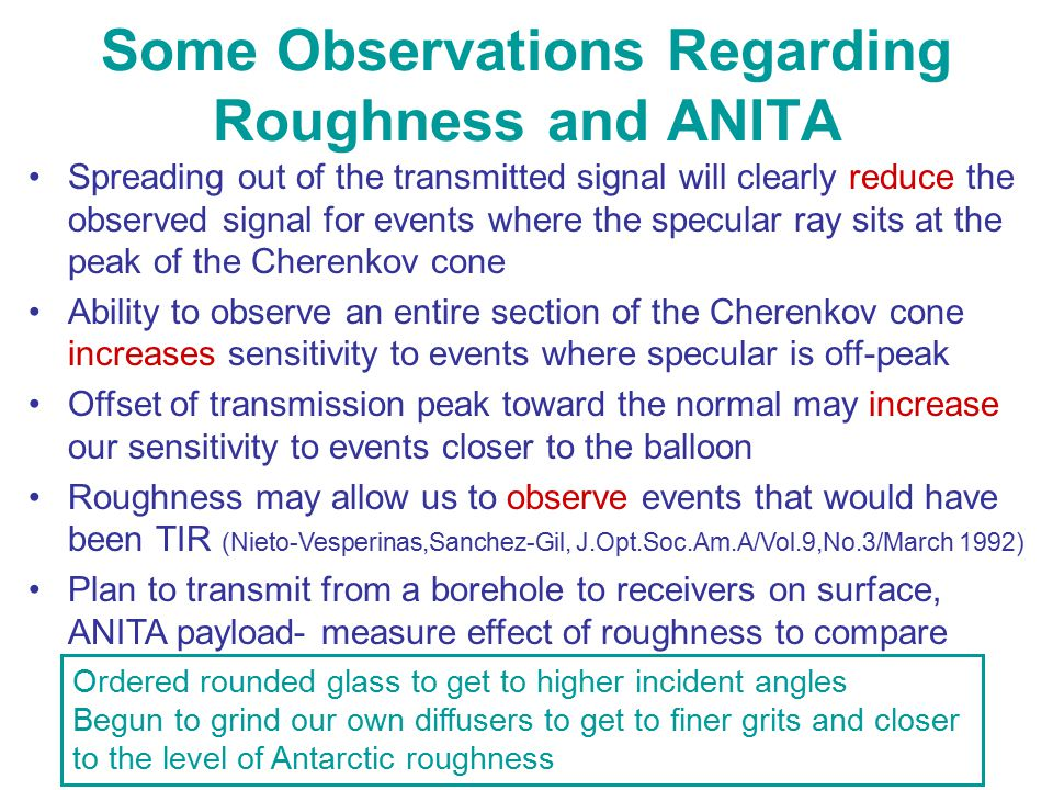 Some Observations Regarding Roughness and ANITA Spreading out of the transmitted signal will clearly reduce the observed signal for events where the s