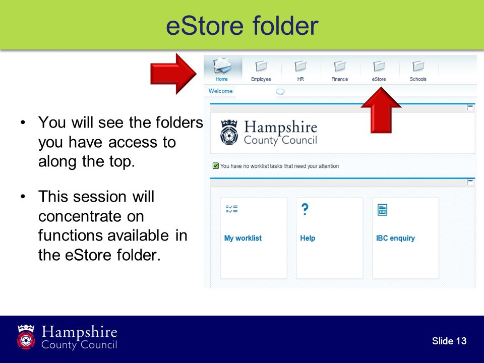 Slide 13 eStore folder You will see the folders you have access to along the top.