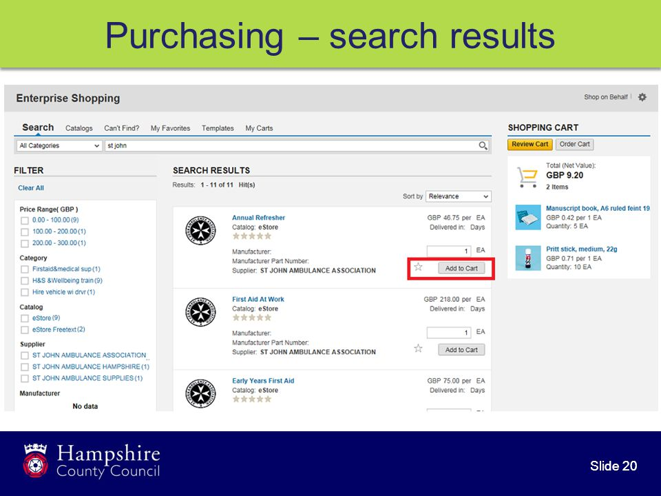 Slide 20 Purchasing – search results