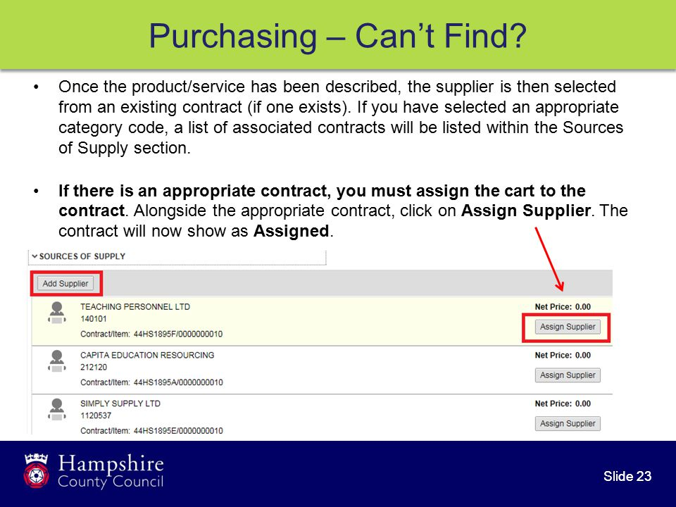 Slide 23 Purchasing – Can't Find.
