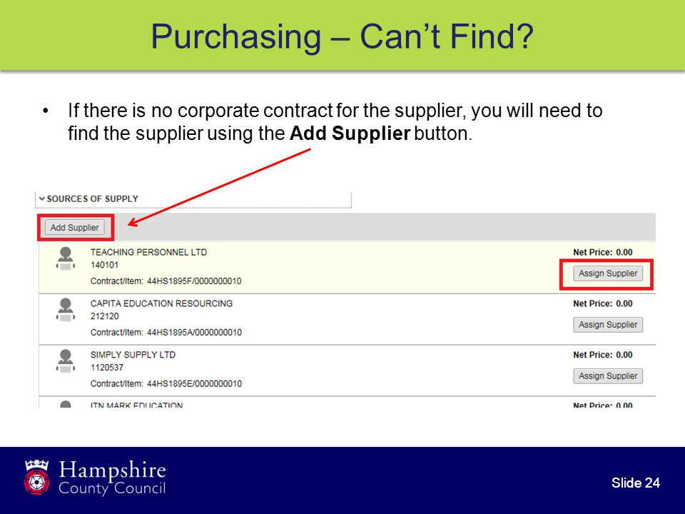 Slide 24 Purchasing – Can't Find.