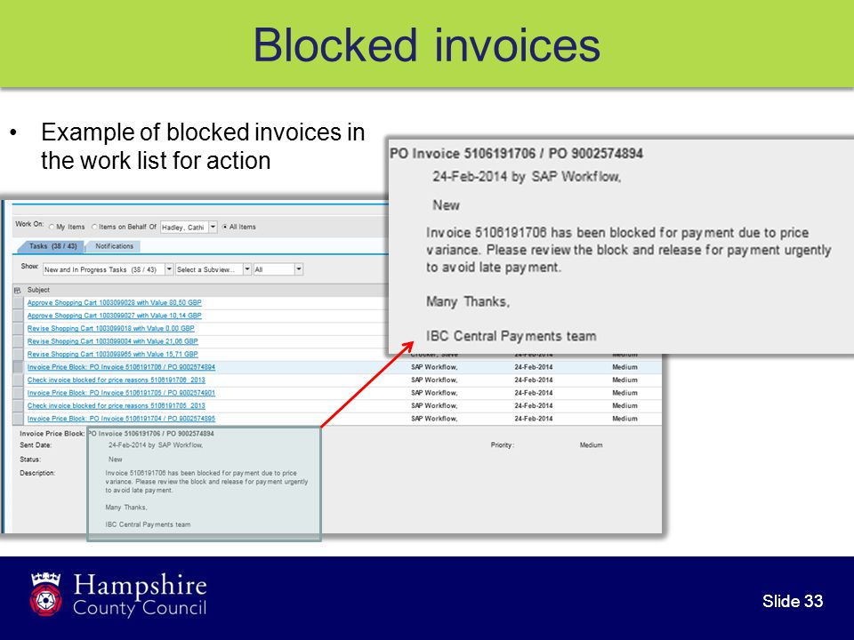 Slide 33 Blocked invoices Example of blocked invoices in the work list for action