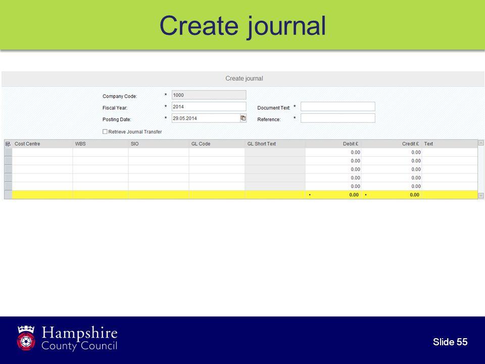 Slide 55 Create journal