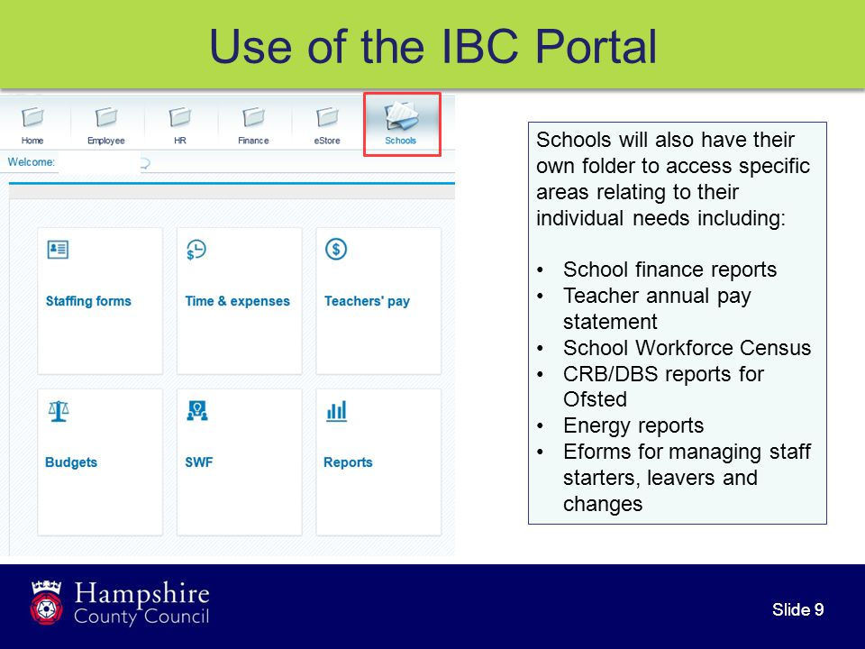 Slide 9 Use of the IBC Portal Schools will also have their own folder to access specific areas relating to their individual needs including: School finance reports Teacher annual pay statement School Workforce Census CRB/DBS reports for Ofsted Energy reports Eforms for managing staff starters, leavers and changes