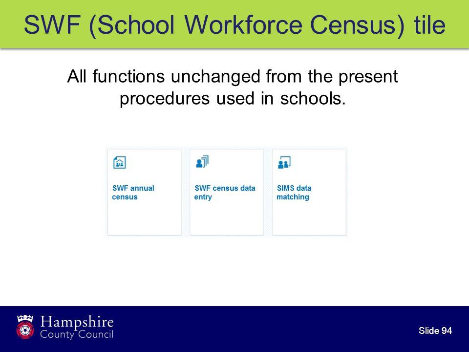 Slide 94 SWF (School Workforce Census) tile All functions unchanged from the present procedures used in schools.